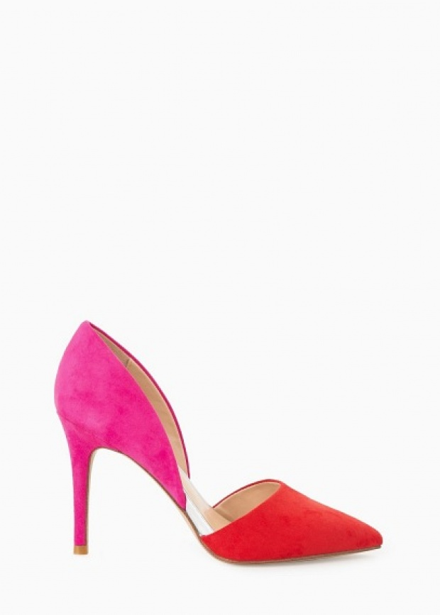 Цветни велурени обувки с висок ток 2015