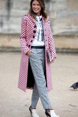 Красиво дълго палто на точки 2015