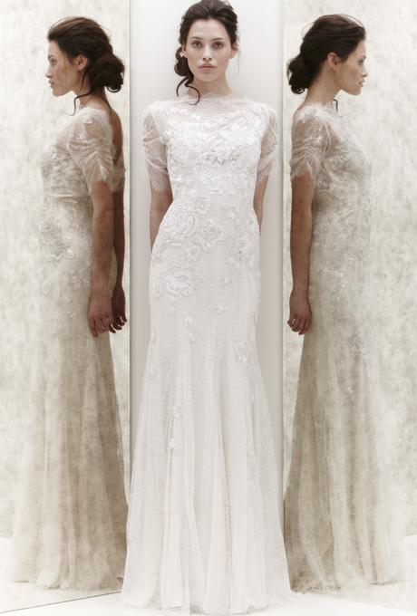 Булчинска рокля цвят слонова кост с камъни Jenny Packham 2013