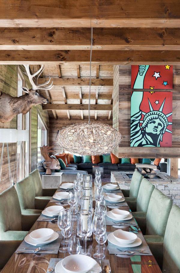 Дъбова хижа с изглед към Мон Блан маса за хранене