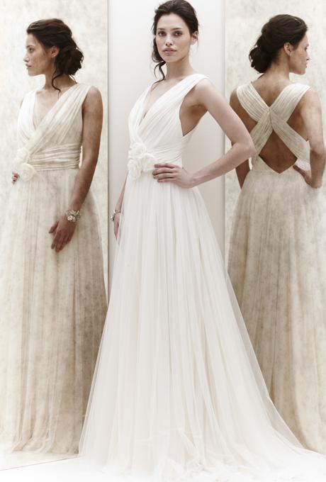 Булчинска рокля А силует с ефектен гръб Jenny Packham 2013