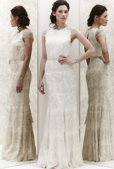 Права булчинска рокля с покривен пласт дантела Jenny Packham 2013