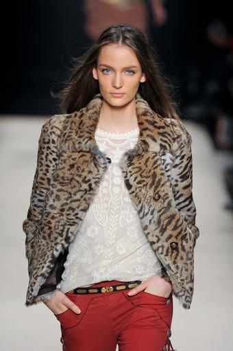 Кожено палто късо с леопардов принт зима 2012
