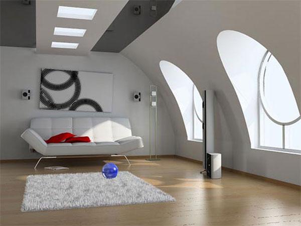 Модерен интериор на мансарда