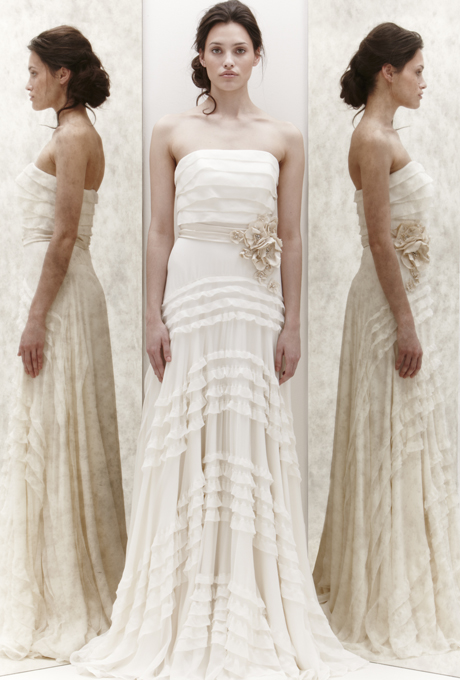 Нежна булчинска рокля без презрамки на волани А силует Jenny Packham 2013