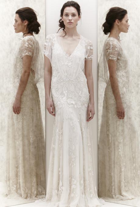 Ефирна булчинска рокля дантела А линия Jenny Packham 2013