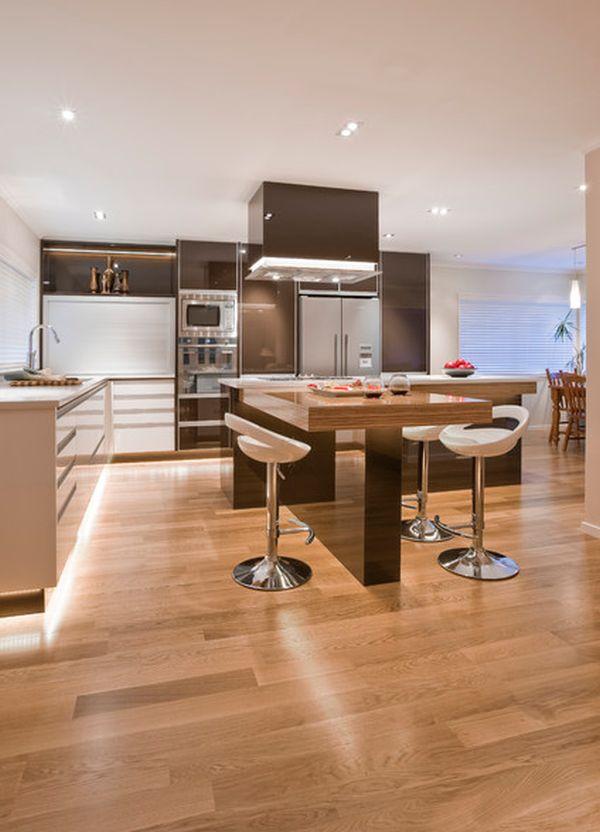 Модерен Г-образен кухненски остров с плот за хапване