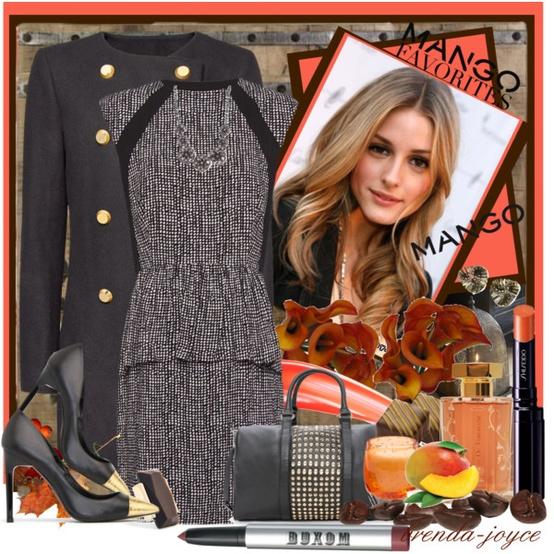 Сива строга рокля и палто с остри обувки зима 2012 2013