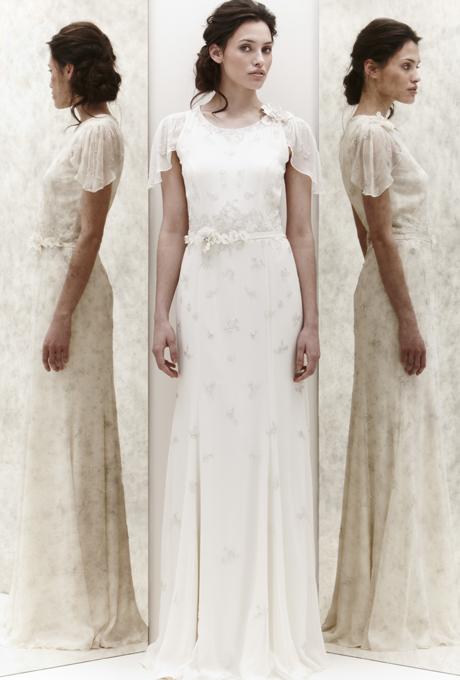 Изчистена права булчинска рокля Jenny Packham 2013