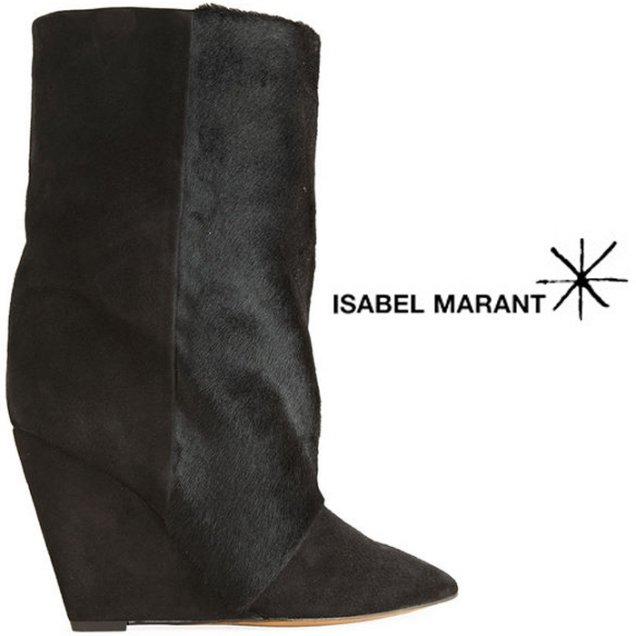 Черни боти с косъм на платформа като тези Isabel Marant