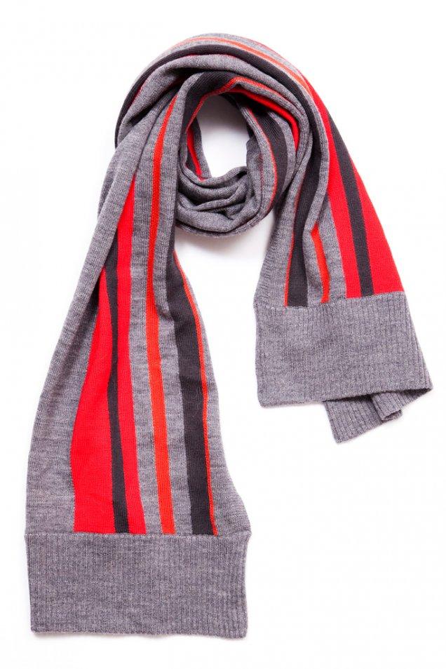 Сив шал с червено и тъмно синьо райе Rag and bone 2012