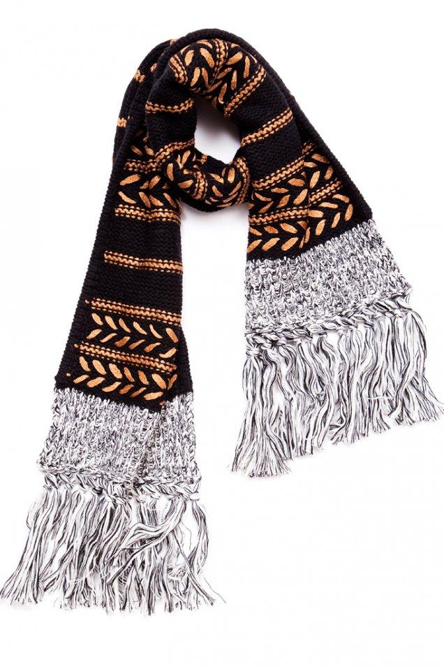 Черен шал с ресни и плетеници Rag and bone есен зима 2012