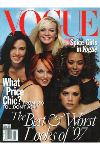 Виктория и момичетата от Spice Girls на корицата на Vogue 1998г