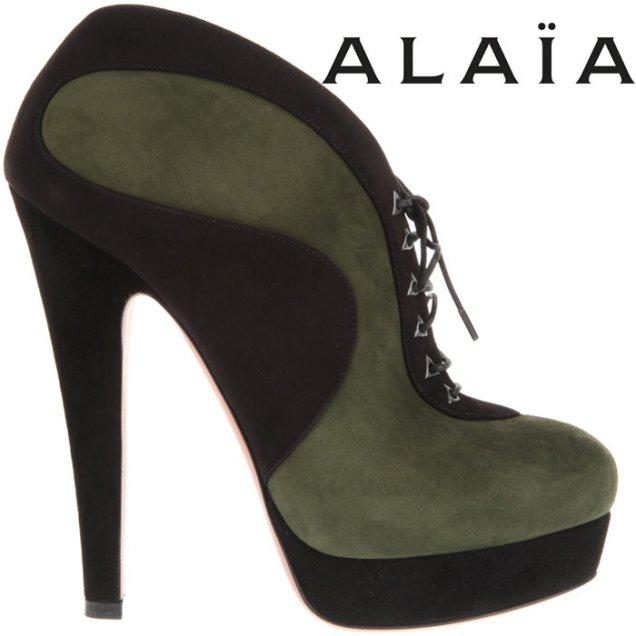 Високи боти с връзки в два цвята като тези Alaia