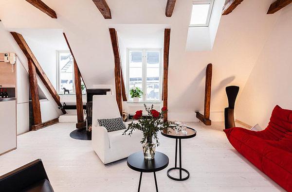 Двуетажен апартамент в Стокхолм - дневна