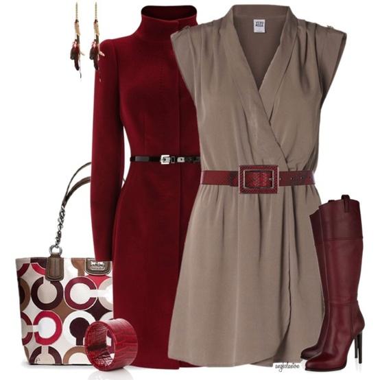 Идея за есен и зима за стилната жена - рокля и палто в червено