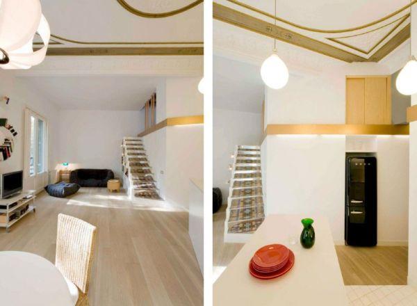 Просторен апартамент в  Барселона - бяла дневна