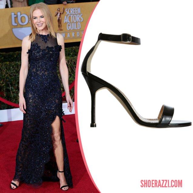 Никол Кидман носеше Manolo Blahnik  сандали също на Наградите на Гилдията на екранните актьори.
