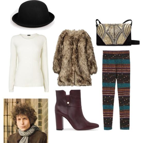 Фънки фешън сет с кожено палто зима 2012
