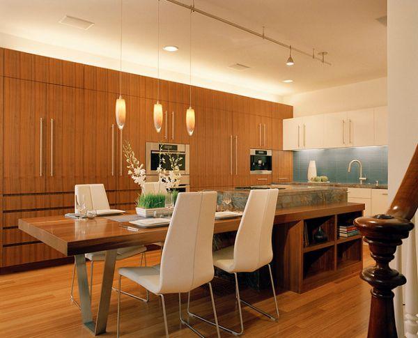 Съвременен кухненски остров с маса дърво и мрамор