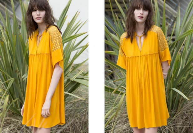 Жълта къса рокля лято 2015