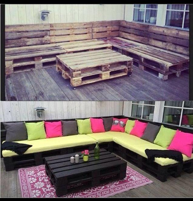 Градински мебели от дървени палети и възглавници