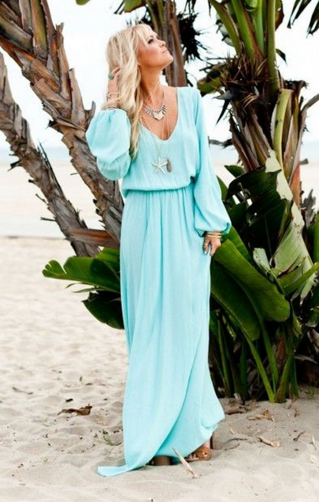 Дълга рокля с дълъг ръкав лято 2015