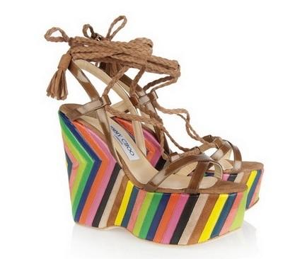 Цветни сандали на висока платформа лято 2015