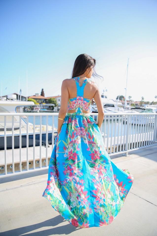 Секси красива цветна дълга рокля лято 2015