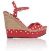 Червени сандали с платформа на точки лято 2015