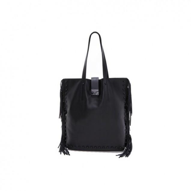 Голяма черна чанта с ресни есен 2015