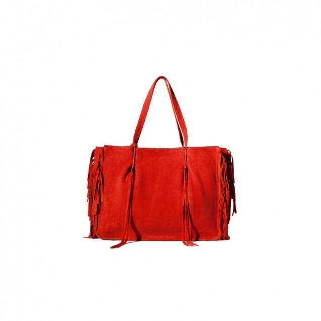 Елегантна червена чанта с ресни есен 2015