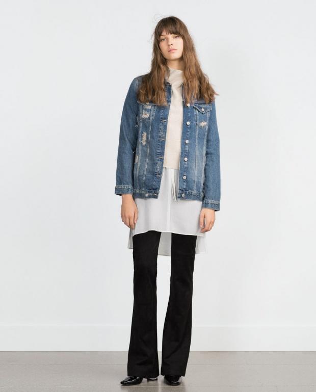 Дънково яке и бяла риза от Зара - есен 2015