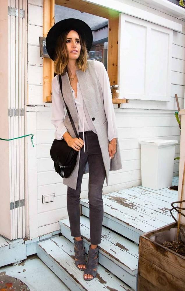 Модерна дълга жилетка в сиво за есен 2015