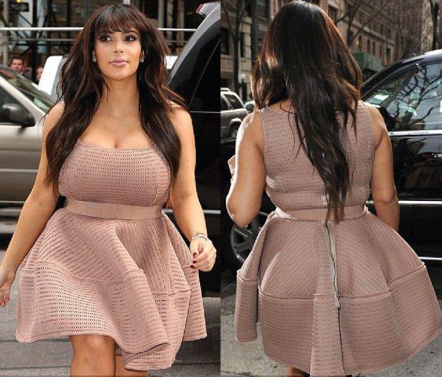 Ким Кардашиян бременна с кремава рокля