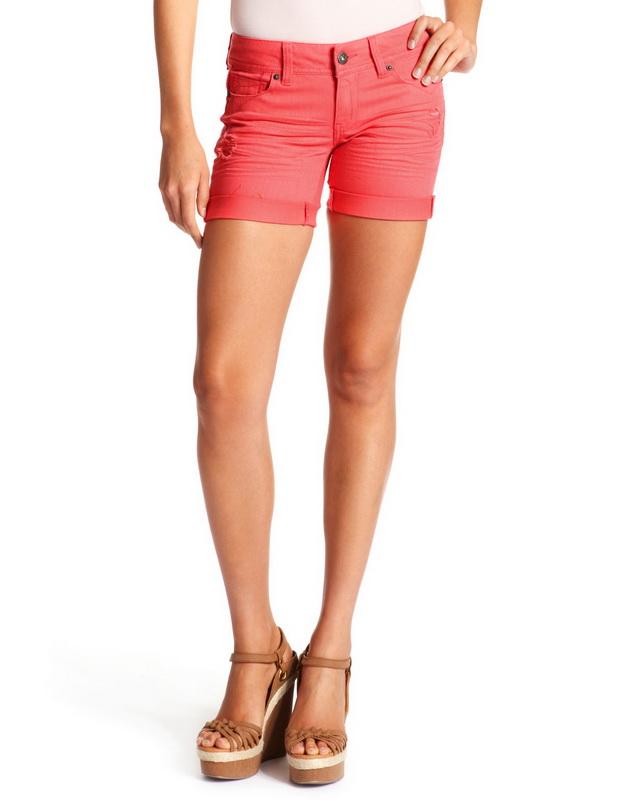 Къси панталони цвят корал