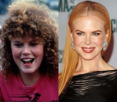 Никол Кидман преди като малка и сега