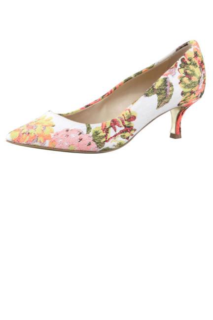 Stella McCartney Floral Jacquard Kitten-Heel Pump Флорални обувки с нисък ток