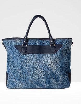 Чанта леопардов принт от деним