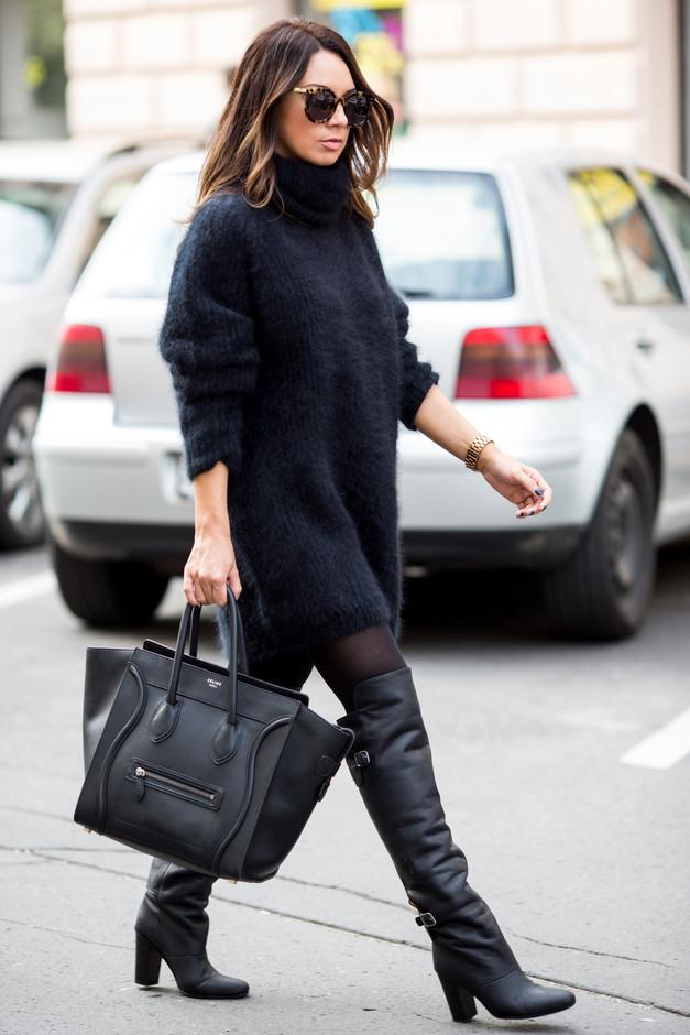 Черен широк пуловер есен 2015