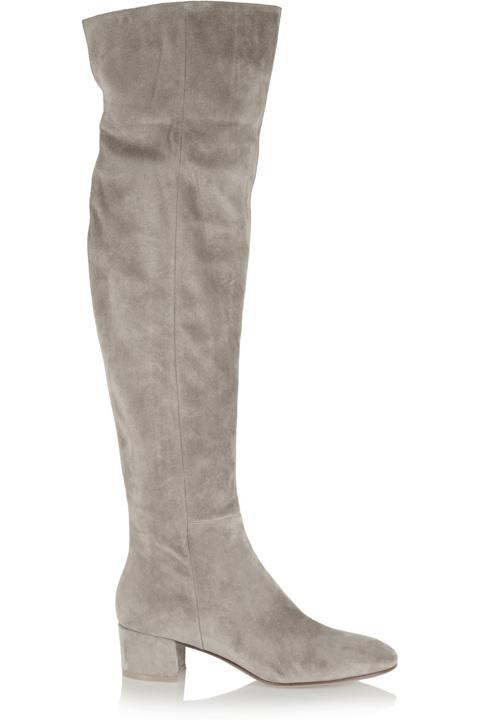 Велурени чизми в сиво на малко токче есен 2015