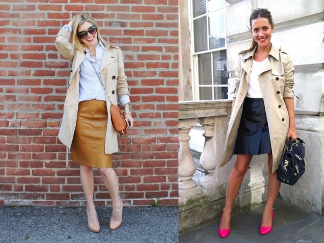 Кожена пола в комбинация с елегантно палто