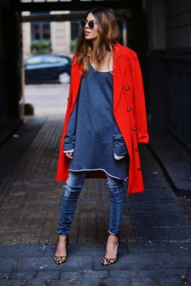Зимно палто в червено 2015