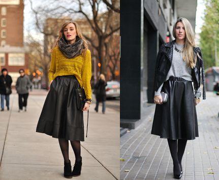 Кожена пола в комбинация с широк пуловер