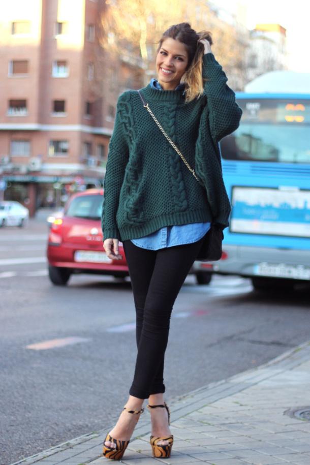 Красив зелен широк пуловер есен 2015