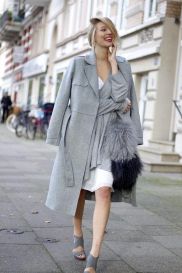 Сиво дълго палто за есен 2015