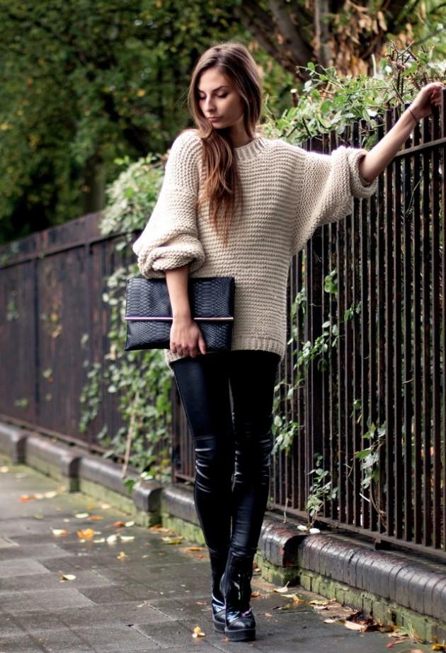 Пуловер с много широки ръкави за есен 2015