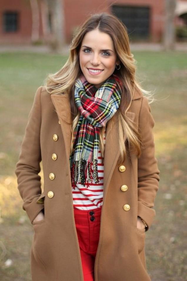 модерно палто с комбинация шал
