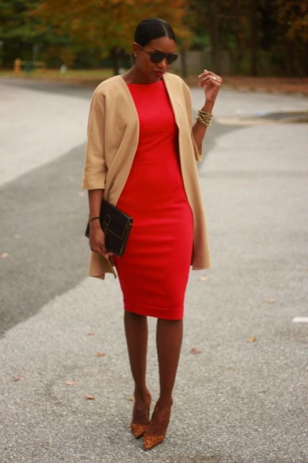 червена рокля с наметка есен 2015