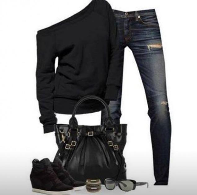 Секси-спортна комбинация: Дънки, блуза с едно рамо и кецове с платформа есен 2015